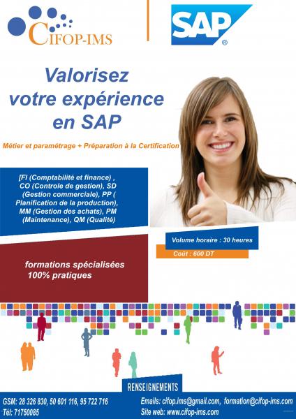 Annonce sur Affariat Tunisie pour: Formations pratiques en SAP